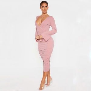 Long Sleeve Plunge Stretch Rushed Bodycon Dress 10